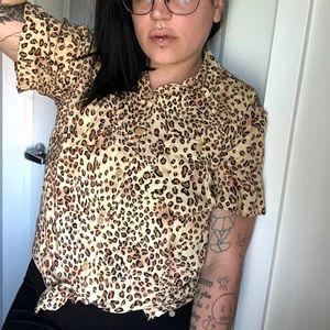 Vintage Cheetah Print Button Up Blouse